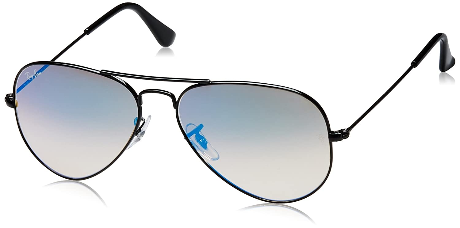 Ray-Ban Aviator Large Metal, Gafas de sol para Hombre, Negro (Blue Gradient Flash), 55