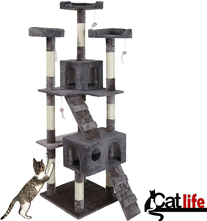 Bakaji - Parque de juegos para gatos, árbol para arañar, de sisal, con casetas, 170 cm de alto, color azul: Amazon.es: Productos para mascotas