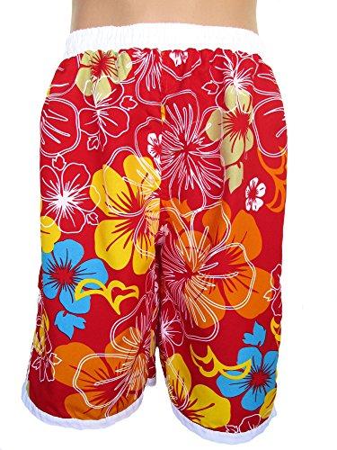 Herren Bermudas, Shorts, kurze Hose, Badeshorts, mit Motiv 'Blumen', rot, AM-HE-Ber-Bix-A009-rot