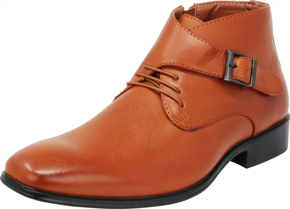 Cambridge Select Men's Closed Toe Lace-up Buckled Crossover Monk Strap Low Heel Dress Ankle Boot,10 D(M) US,Tan Pu