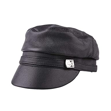 Xinqiao Women s Newsboy Fiddler Cap Genuine Leather Vintage Ivy Driving  Flat Hat 714a87286f0