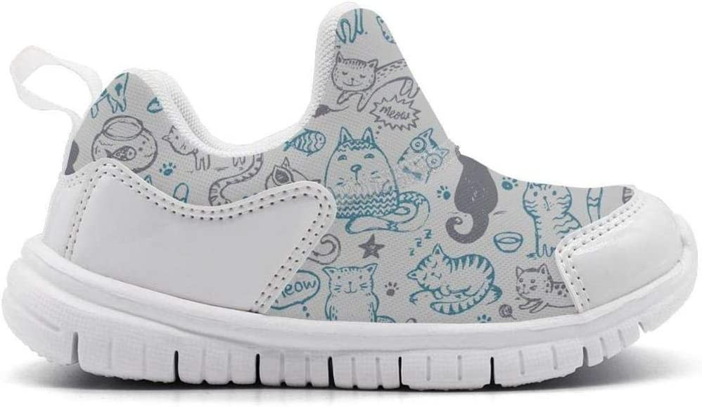 ONEYUAN Children Cat and Mice Meow Fish Star Paw Kid Casual Lightweight Sport Shoes Sneakers Running Shoes