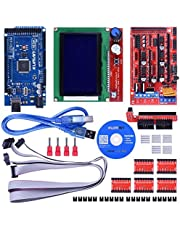 Kuman Upgraded 3D Printer Controller Kit w/ Tutorial For Arduino electronic projects robot kits With Mega 2560 R3 +RAMPS 1.4 + A4988 Stepper Motor Driver+ LCD 12864 K17
