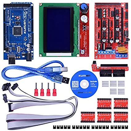 Kuman 3D Printer Controller Kit For Arduino Mega 2560 Uno R3 Starter Kits  +RAMPS 1 4 + 5pcs A4988 Stepper Motor Driver + LCD 12864 for Arduino Reprap