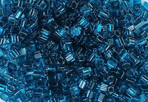 11/0 Triangle TOHO Japanese Glass Seed Beads #7BD-Transparent Capri Blue 15g