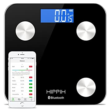 Hippih 400lb / 180kg Bluetooth Electronic Bathroom Scale With Tempered  Fillet Glass Balance Platform And Advanced