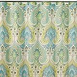 Blue and Green Shower Curtain DS BATH Medina Saffron Shower Curtain,Mildew Resistant Fabric Shower Curtain,Contemporary Shower Curtains for Bathroom,Print Bathroom Curtains,Paisley Waterproof Shower Curtain,78