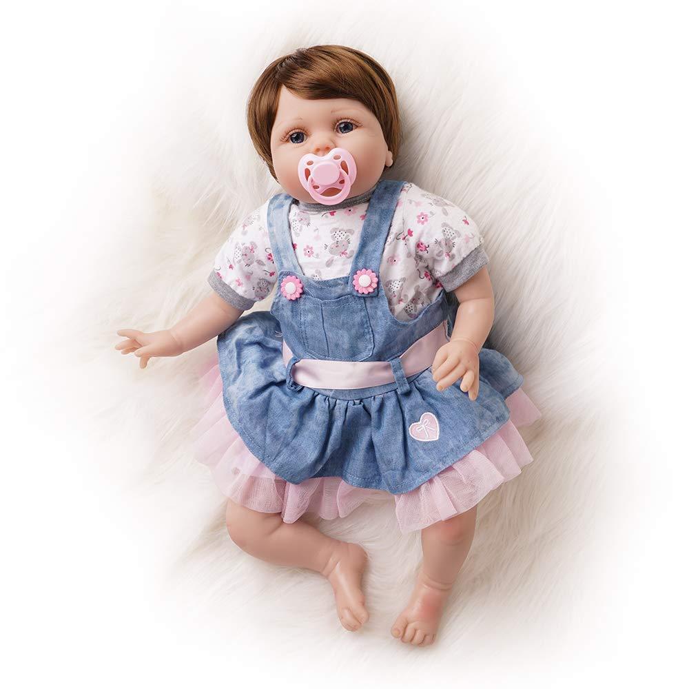 Yesteria Bambola Reborn Femmina Realistica Silicone Bambina Gonna di Jeans 55 cm