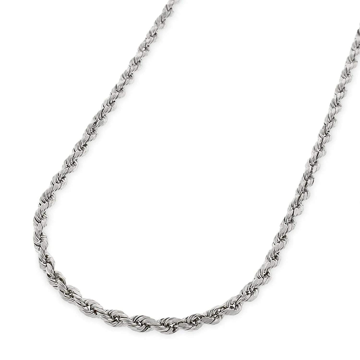925 Gold Rope Chain 4MM 14K Gold Over Silver Rope Chain Necklace 925 Braided Twist Italian Necklace 3MM Verona Jewelers 925 Sterling Silver Diamond-Cut Rope Chain Necklace 2MM