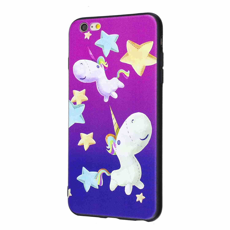 Premium TPU Silicone Bumper Cover Noir Soft Silicone Licorne Carols Coque iPhone 6 Plus //6S Plus