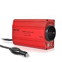 Spannungswandler 12v 230v / Wechselrichter / BESTEK Stromwandler 12 auf 230 Inverter / mit Tüv Zertifiziert und 2 USB Anschlüsse inkl. Kfz Zigarettenanzünder Stecker,Autobatterieclips Rot