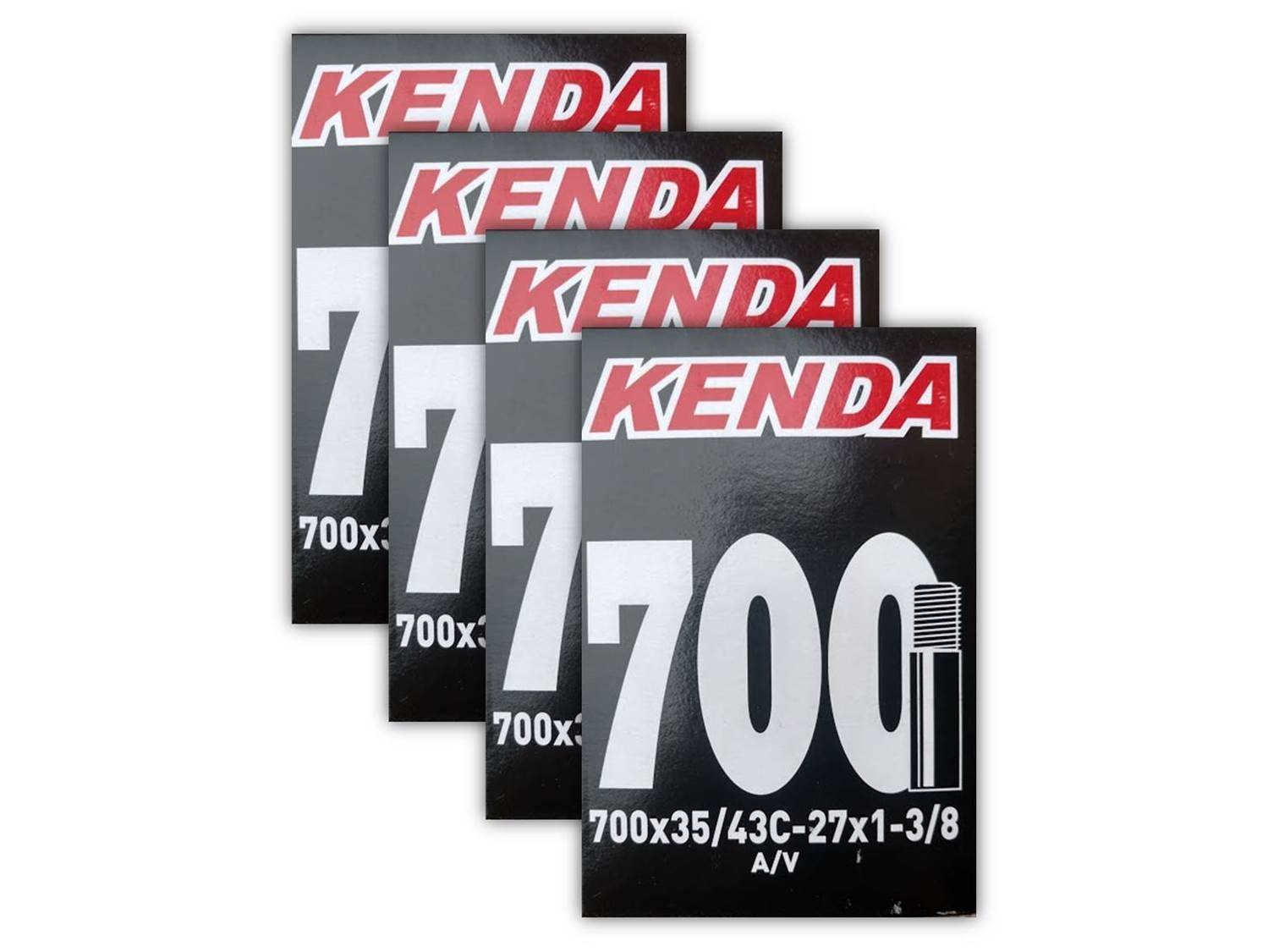 Kenda. 700x35-43c (27x1-3/8) Schrader Valve Bike Tube Bundle - FOUR (4) PACK