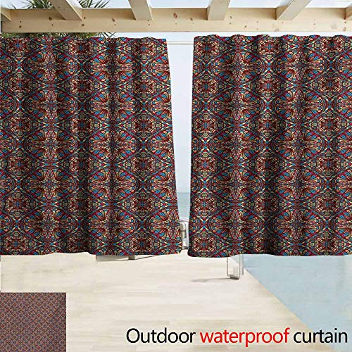 AndyTours Exterior/Outside Curtains,Vintage Oriental Turkish Carpet Design Like Image with Vivid Colorful Floral Seem Artwork,Rod Pocket Energy Efficient Thermal Insulated,W72x45L Inches,Multicolor ()
