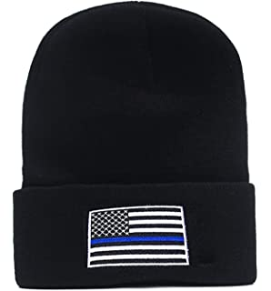 f8c4abacd Thin Blue Line USA Flag Knit Skull Cap Hat Beanie Support Police Law ...