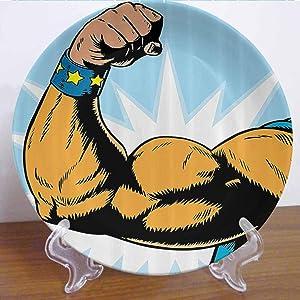 "Burton Edith Tablecloth 8"" Comics Decor Ceramic Decorative Plate Superhero Arm Flexing Muscles Powerful Fiction Character Cartoon Graphic Decor Accessory for Fine Dining, Parties, Wedding"