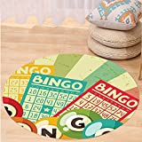 VROSELV Custom carpetVintage Decor Bingo Game with Ball and Cards Pop Art Stylized Lottery Hobby Celebration Theme for Bedroom Living Room Dorm Multi Round 34 inches