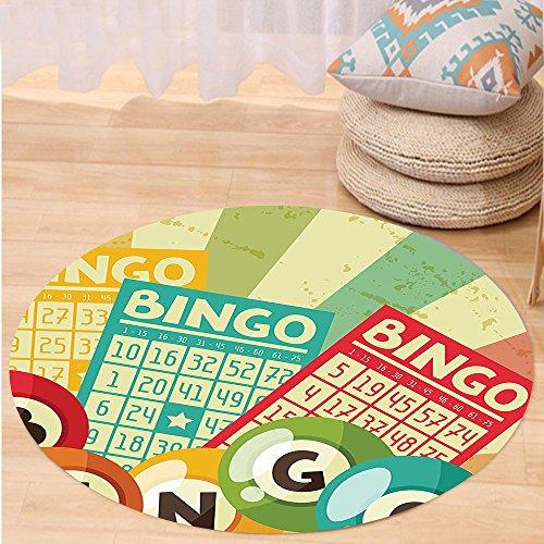 VROSELV Custom carpetVintage Decor Bingo Game with Ball and Cards Pop Art Stylized Lottery Hobby Celebration Theme for Bedroom Living Room Dorm Multi Round 79 inches by VROSELV