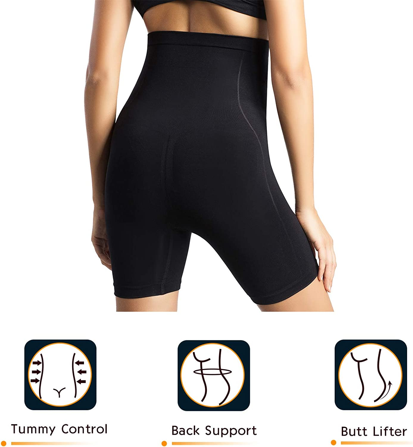 +MD Seamless Women Invisable High Waist Tummy Control Butt Lifter Panties Strapless Body Shaper Shorts Thigh Slimmer