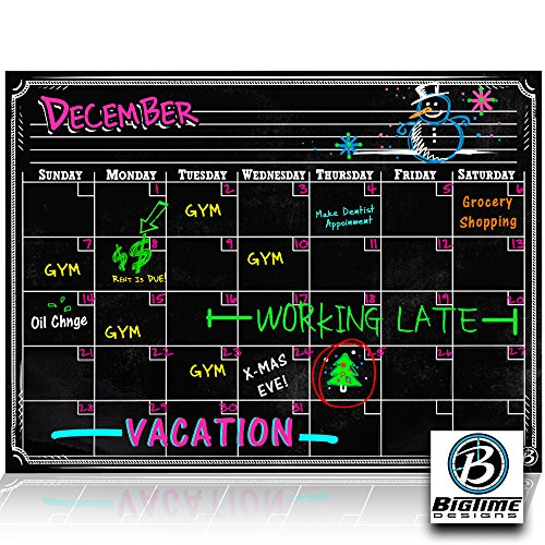 Bigtime Magnetic Refrigerator Calendar Dry Erase Black Chalkboard Board Design | Monthly for Kitchen Fridge| Use w/ Wet Wipe Fluorescent or Neon Markers (Black Magnetic Fridge Organizer compare prices)