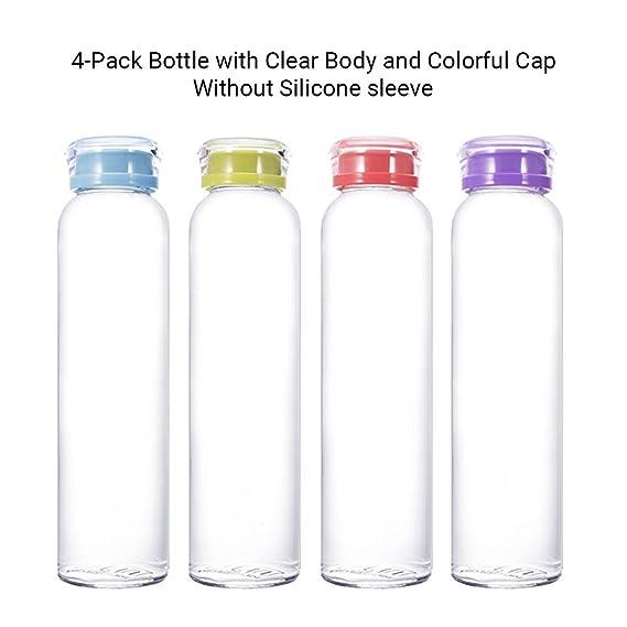 MIU COLOR 4Pack Botella de Agua de Cristal Zumo Botella de Leche Botella de Vidrio: Amazon.es: Deportes y aire libre