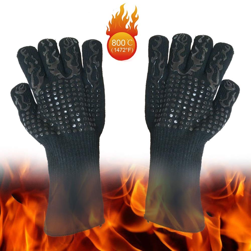 LSLMCS Gardening Gauntlet Gloves- Extreme Heat Resistant Gloves, BBQ Grilling Gloves, Oven Mitts, Pot Holders, 5 Fingers Glove - Fireplace Accessories And Welding, Baking,Cooking,Fire Pan And Pizza Ov