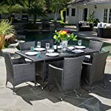 Cheap GDF Studio Macalla | 7-Piece Wicker Outdoor Dining Set | Perfect For Patio | in Grey