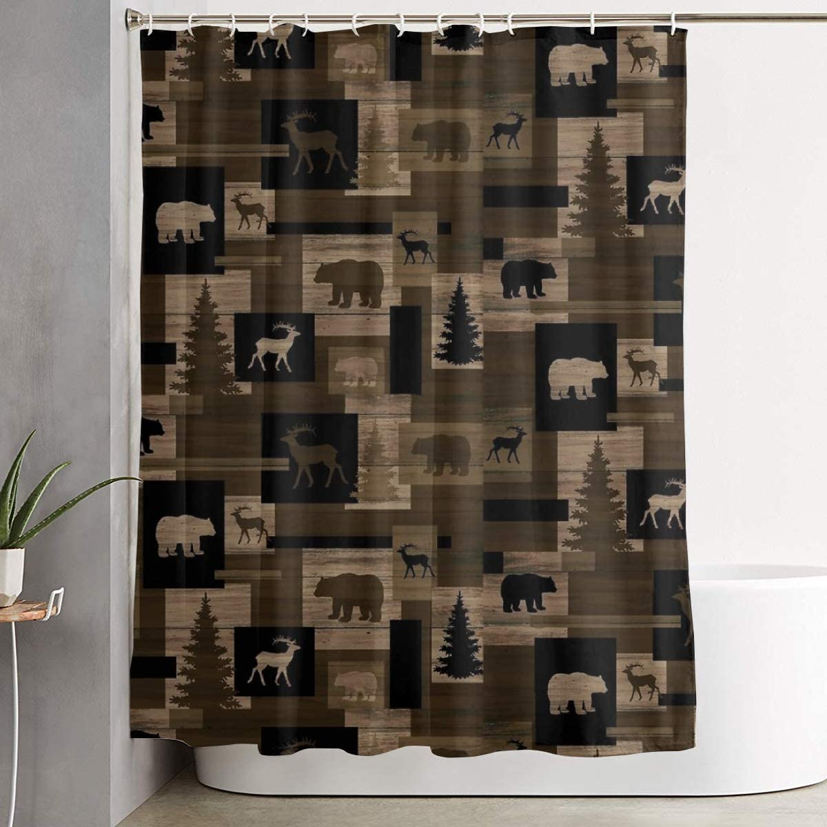 Two Deer in Maple Woods Bathroom Fabric Shower Curtain Extra Long 84 Inches New