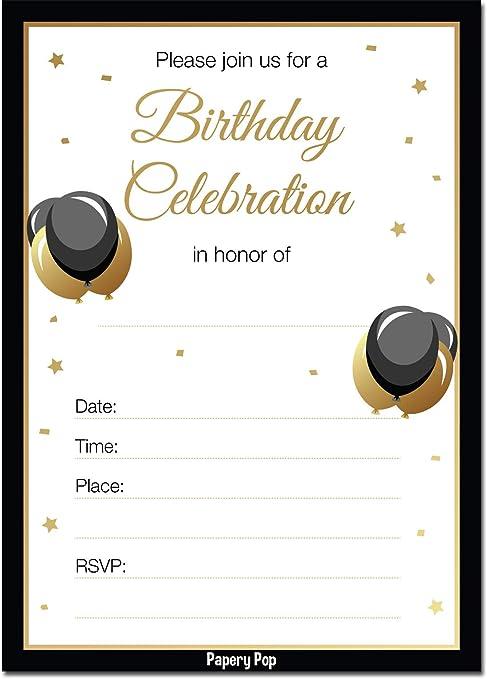 Invitaciones De Cumpleaños Para Adultos Con Sobres 30