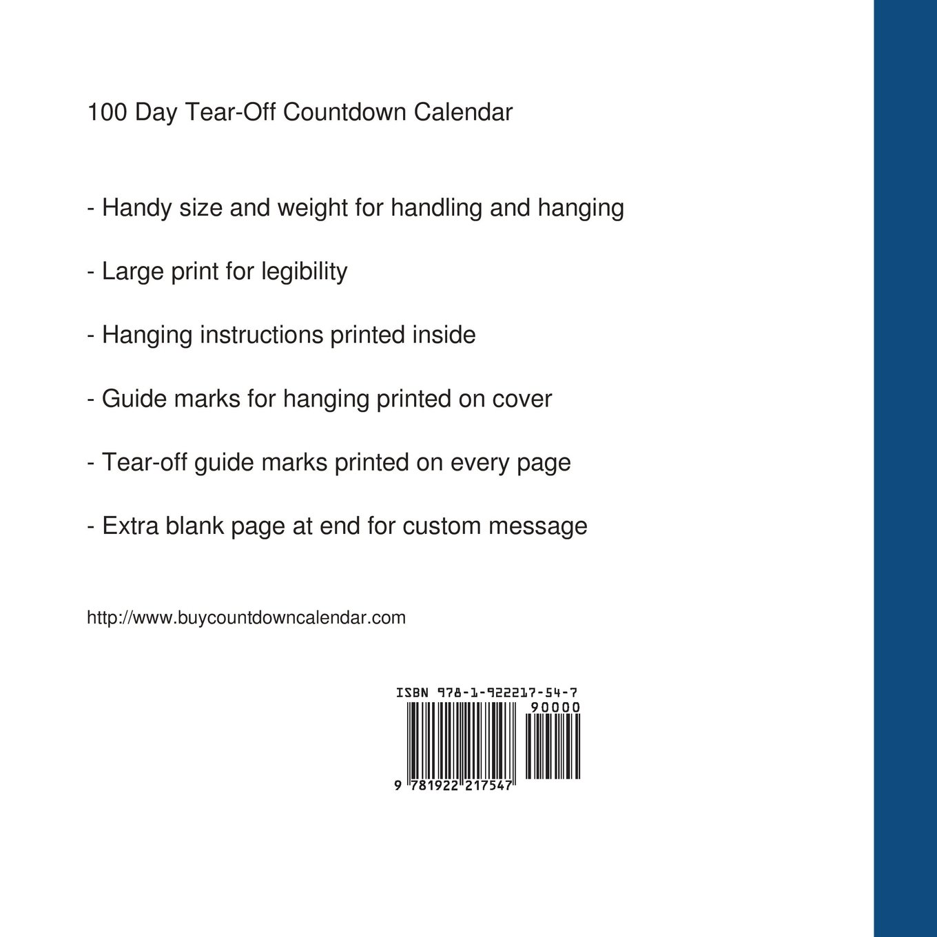 photograph relating to 100 Day Countdown Printable referred to as : 100 Working day Tear-Off Countdown Calendar