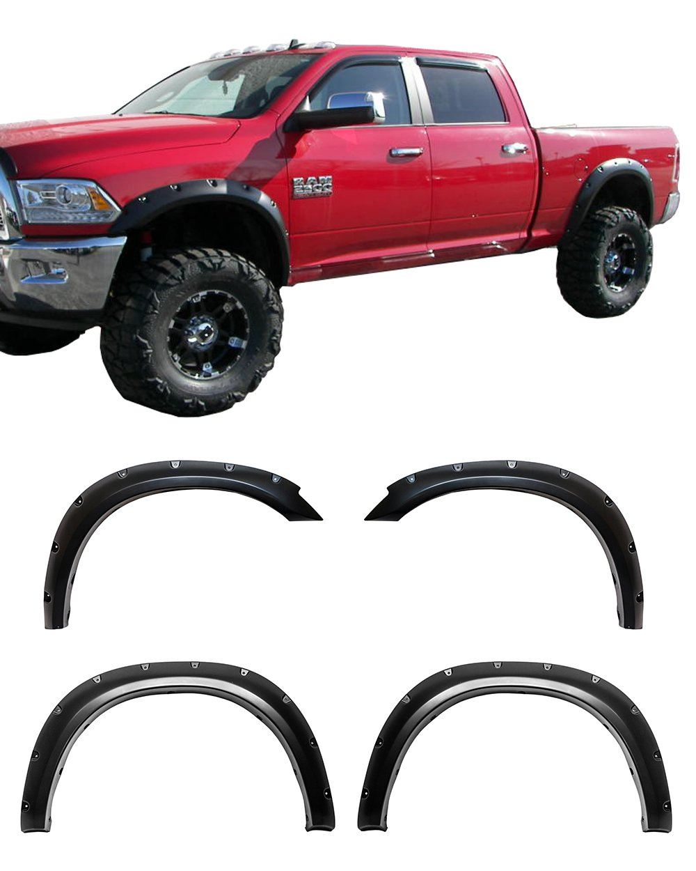 Galaxy Auto Fender Flares 2010-18 Dodge Ram 2500/3500 (Fleetside Models ONLY) - Pocket Riveted Style in Paintable Smooth Matte Black - 4 Piece Set