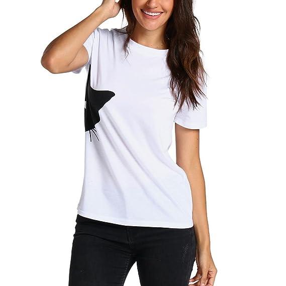 Camisetas Mujer Manga Corta Casual AIMEE7 Camisetas Manga Corta Adolescentes Chicas Moda Blusas Casual De Mujer