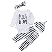 4Pcs/Set Baby Boy Girl Love Long Sleeve Romper Bodysuit+Striped Pants+Hat+Headband Outfits (White+Striped, 0-6 Months)