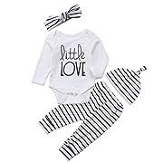 Honganda 4Pcs/Set Baby Boy Girl Love Long Sleeve Romper Bodysuit+Striped Pants+Hat+Headband Outfits (White+Striped, 6-9 Months)