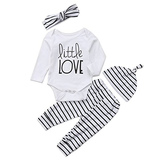 d28c90610d4 4Pcs Set Baby Boy Girl Love Long Sleeve Romper Bodysuit+Striped Pants+Hat