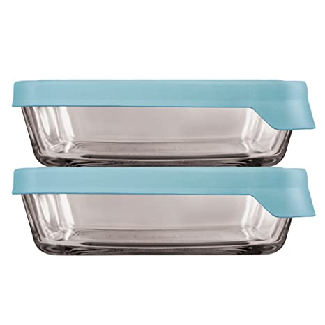 6f31234800dd Anchor Hocking TrueSeal Glass Food Storage Containers with Mineral Blue  Airtight Lids, 6 Cup Rectangle, Set of 4