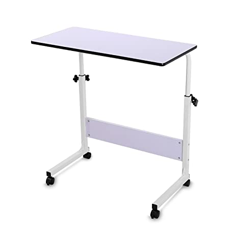 BUREI Couch Laptop Table On Wheels Lap Desk Adjustable Table For Sofa  BUREI(White)