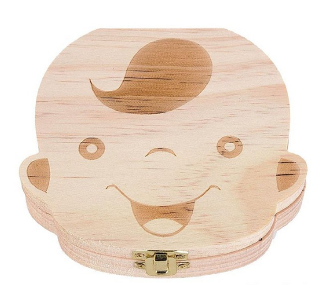 2x Baby Organizer Dental Teeth Box Milk Tooth Wooden Container Save Storage Collecting Teether Safe Wood Storage Boxes for Boy
