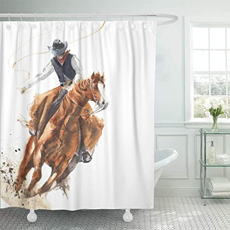 Sonernt Curtain Rodeo Cowboy Riding Horse Ride Calf Roping Watercolor Painting White Western Shower Curtain Bathroom Decor Polyester Durable Waterproof Curtain Home Kitchen