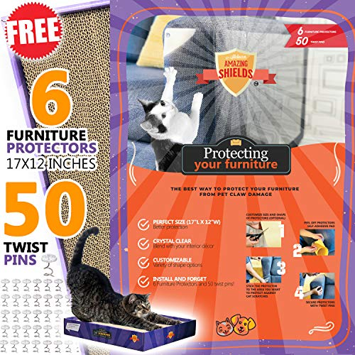 Stelucca Amazing Shields Set X-Large Furniture Protectors from Cats + Cat Scratcher + Catnip, Cat Repellent for Furniture - Cat Scratch Deterrent - Cat Couch Protector (17