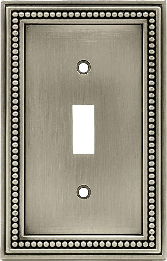 Brainerd 64905 Beaded Single Toggle Switch Wall Plate Switch Plate Cover Brushed Satin Pewter Wall Sconces