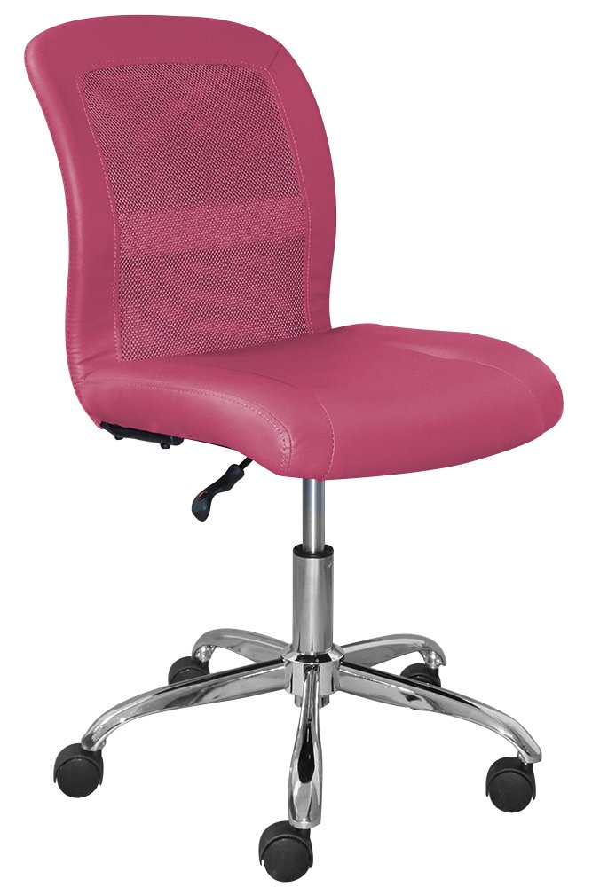 Serta Essentials Ergonomic Armless Low-Back Computer Swivel Task Chair, Faux Leather and Mesh, Pink