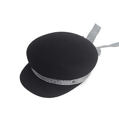 Autumn Winter Wool Newsboy Caps Women Fall Woolen Hat with Plaid Bow-Knot Belt Gorras
