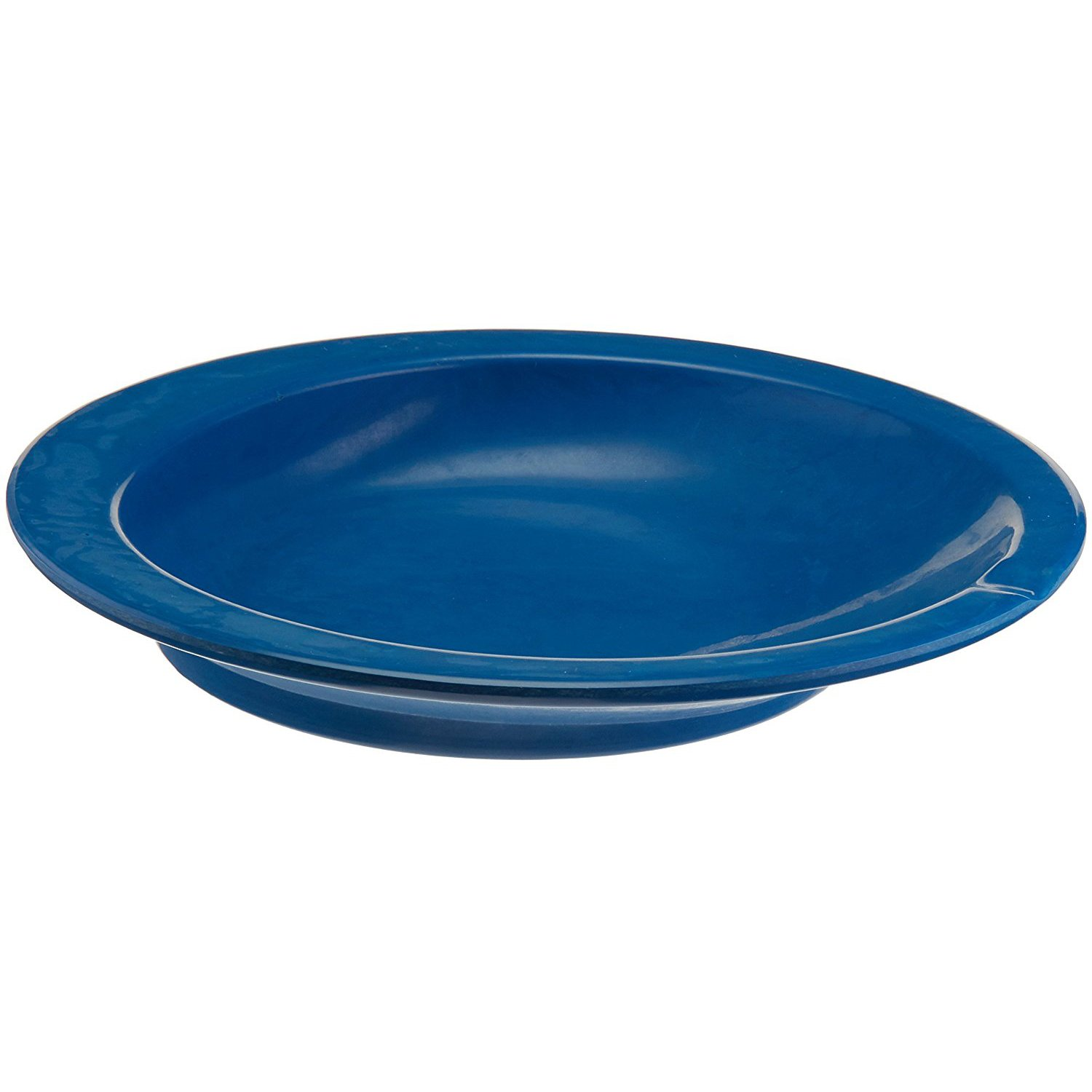 Sammons Preston Round Scoop Dish, Blue, Polyester Dish with Non-Skid Base has 9'' Diameter & Center Depth of 1.5'', Grooved Lip Orients the Visually Impaired & Acts as Utensil Rest, Adaptive Eating Aid