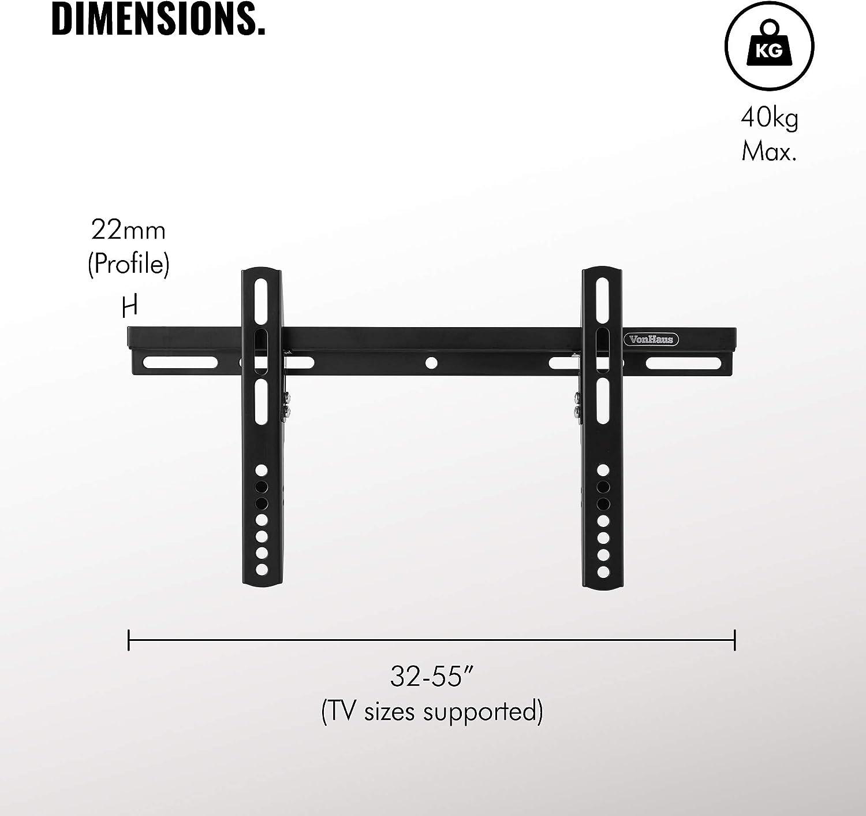 Supporto a Parete Completamente Regolabile per Schermi di Varie Dimensioni VonHaus Staffa per TV Ultra Slim per TV da 32-55