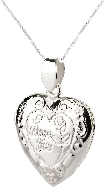 FIVE-D Anh/änger mit Kette Medallion Herz I Love You 925 Sterling Silber im Schmucketui