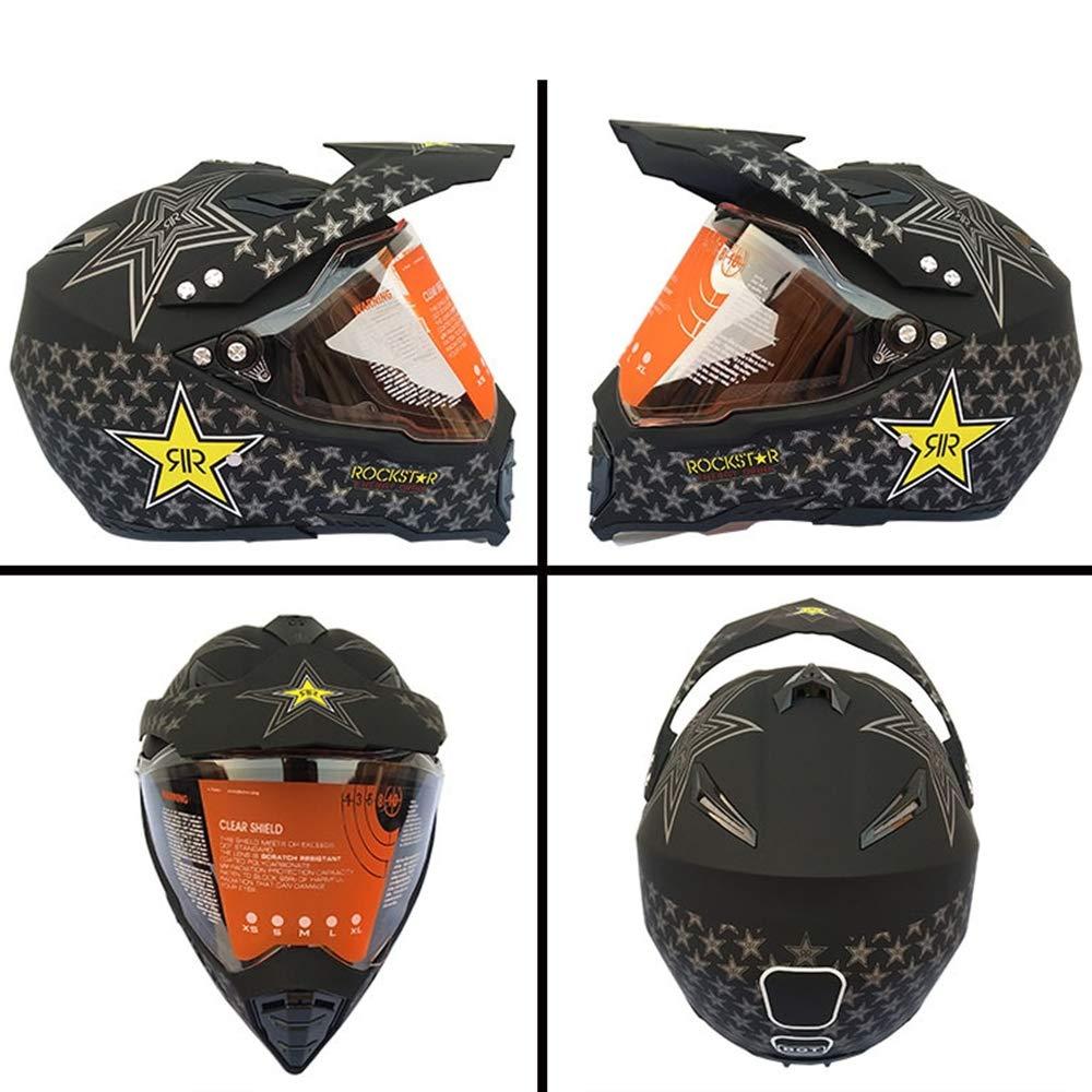 Certificazione D.O.T Casco Moto Cross Adulto off-Road Downhill Race ATV Scooter MRDEAR Casco da Motocross Nero Rockstar Casco MTB Integrale Donna Uomo con Visiera