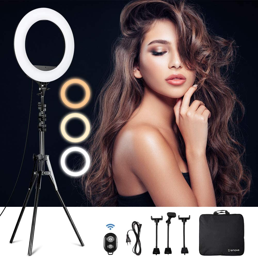 """Crenova 18"""" Selfie Ring Light with 20""""-75"""" Stand, 460pcs Dimmable LEDs (3200-5600K) with Adjustable Color Temperature Tripod Stand Phone Holder Bluetooth Remote Shutter for Makeup Artist YouTube Live"""