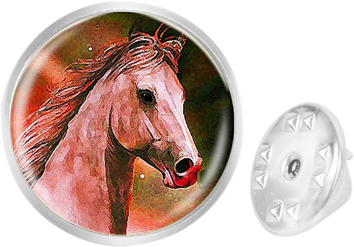 WAZZIT Round Metal Tie Tack Hat Lapel Pin Brooches Painting Horse Banquet Badge Enamel Pins Trendy Accessory Jacket T-Shirt