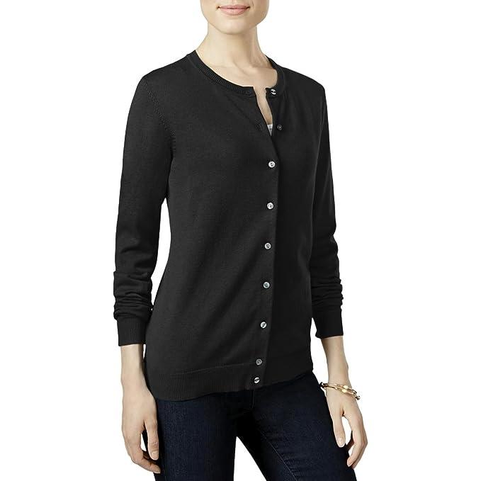 4821712b34c Karen Scott Womens Petites Button Front Crew Neck Cardigan Sweater Black PXL