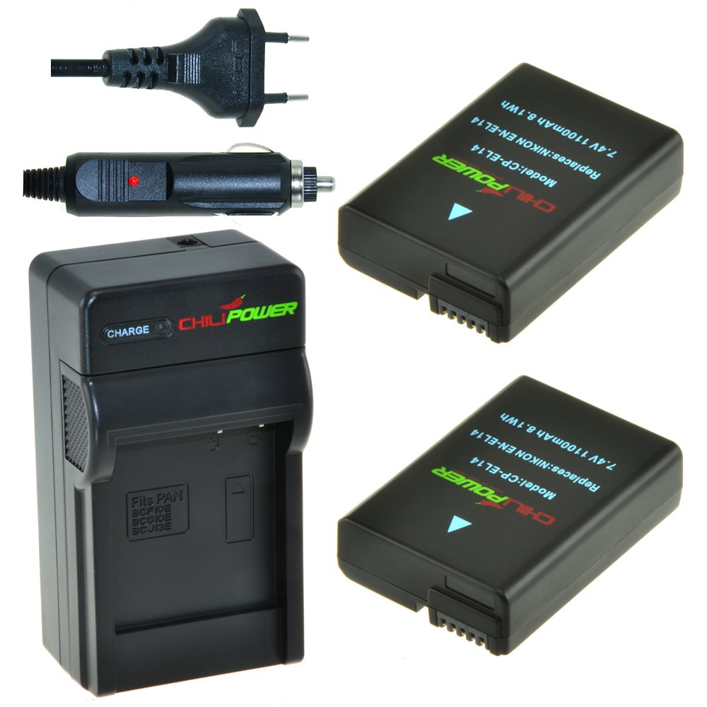 2x Batería + Cargador ChiliPower Nikon EN-EL14, EN-EL14a 1250mAh ...